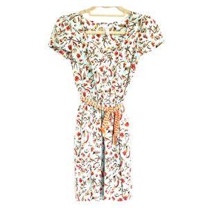 ☘️3/$30-Floral and Bird Mint & Orange Dress sz XS